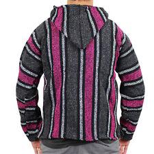 Mexican Baja Hoodie Surf Pullover Jacket Pink Grey Unisex Size Large Drug Rug