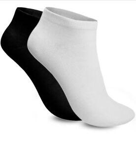 New Men's Women's Plain Trainer Socks Trainer Boot Ankle Footwear Black & White