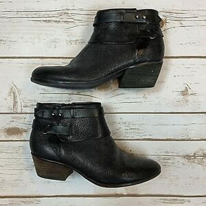 Clarks Womens Ankle Boots Soft Cushion Leather Black Block Heel Zip Size 6.5