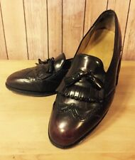 Johnston & Murphy Sz 9.5 Deep Burgundy Leather Wing Tip Tassel Loafers Heritage