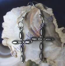 Ohrhänger Ohrring Kreuz silber farben Metall mit Haken aus Silber 925 nr 5