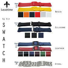 Straps Fit All SWATCH Watches Leather Resin Silicone & Steel 12 17 18 19 20 24mm