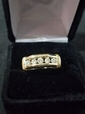 14k Yellow Gold Mens Round Diamond Single Row Band Ring .50 ct.size 10 1/2