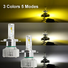 3 Colors 5 Modes Upgrated H7 LED Car Headlight  White/Yellow Hi/Lo Beams Globes