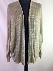Belle & Harris One-Size Slouch Cardigan Dropped Shoulder Ecru Beige Linen K854