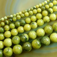 "Natural Yellow Fire Jade Gemstone Round Loose Beads 15"" 6mm 8mm 10mm"