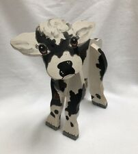 Handmade Wood Painted Black & White Cow Calf Rustic Decor Sculpture Country