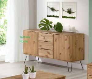 Retro Augusta Solid Wood Waxed Pine Sideboard Buffet Unit 2 Doors & 3 Drawers