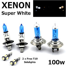 H1 H7 100w SUPER WHITE XENON Upgrade Headlight Bulbs Set Hi Lo Beam +T10 5SMD C