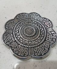 "Tibetan Aluminium metal 3 1/2"" Round lotus Flower Incense sticks & Cones burner."