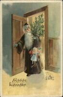 German Christmas - Skinny Santa Claus Brown Coat c1905 UDB Postcard