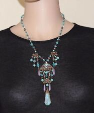 SWEET ROMANCE King Tut Egyptian Revival Czech Glass Fashion Necklace made in USA