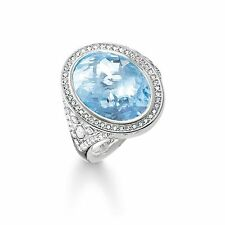 Genuine Thomas Sabo Silver Blue Eternity Of Love Cocktail Ring TR2022 Size 54
