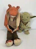 "Disney Star Wars Plush Toy Bundle 17"" Posable Jaja Binks & 9"" Talking Yoda"