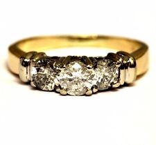 14k white yellow gold 1.08ct round diamond 3 stone engagement ring 4.3g estate