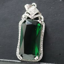 Sterling Silver Cushion Cut Green Emerald Moissanite Halo Pendant Charm Jewelry