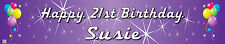 Personalised Party Banner BALLOONS Birthday Banner Purple 21st 18th Banner