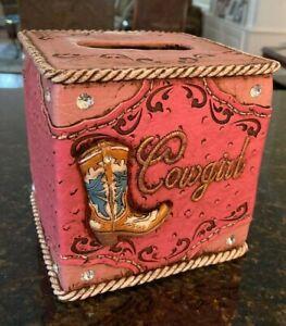 Western Cowgirl Tissue Box Holder & Cowgirl resin