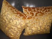 Lee Jofa Throw pillows Cut Velvet fabric LOVEDEN STRIE bronze Swirls new PAIR