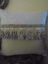 "NEW CROSCILL LORRAINE 16"" X 16""BEADED TASSLE THROW  PILLOW"