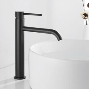 Tall Basin Mixer Taps Mono Stainless Steel Bathroom Tap Single Lever Faucets //
