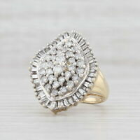 1.56ctw Diamond Cocktail Ring 14k Gold Size 8.25 Cluster Halo Abstract