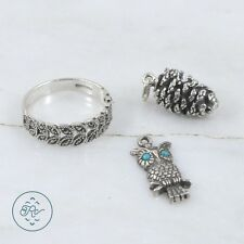 Sterling Silver | (QTY 3) Owl Pinecone Charm Marcasite Ring (Size 8) 9.2g | Lot