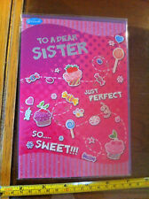 To A Dear Sister Happy Birthday Girl Pink Birthday Wishes Card & Envelope New