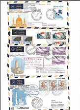 ITALY-10 first flight covers ( all Lufthansa) 1968-1982 (nearly all backstamped)