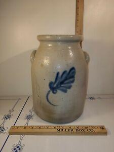 Antique 2 Gallon Salt Glazed Stoneware Preserve Jar Cobalt Leaf Pattern