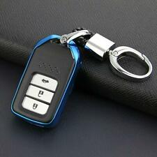 For Honda Smart Car Key Fob Chain Ring Cover Holder Case Accessories Blue NEW