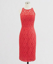 7411fb222f9 NWT J. Crew Lace Sleeveless Pencil Coral Orange Red Cocktail Dress Size 4