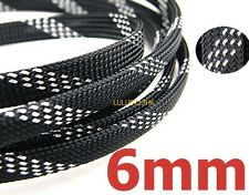 6mm BLK SILVER Expandable Braid DENSE Cable Sleeve High densely 3 weave 200m