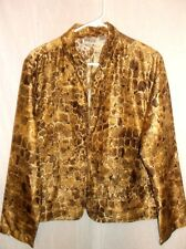 CHICOS  Gold Brown Black   MOSAIC  Print 100% Silk  Open Front Jacket
