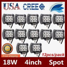 12X 4'' 18W CUBE LED Spot Light Bar For Offroad Jeep SUV Truck 4X4 1500LM 12V24V