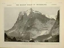 1903 PRINT HOLIDAY SEASON IN SWITZERLAND WETTERHORN THE GRINDELWALD