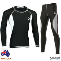 Mens Compression Tight, Pants+Shirt Skin Tight Base Layer Yoga Sports Rash Guard