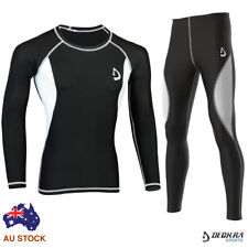 Mens Compression Tight Base Layer Pants + Shirt Skin Fit Yoga Gym Running Tights