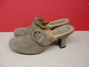 Women's MIX IT Taupe Suede Leather Mules Size 7M