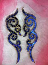 "Sequin Appliques Blue Gold Metallic Scroll Mirror Pair Iron On Patch 7"" GB350"