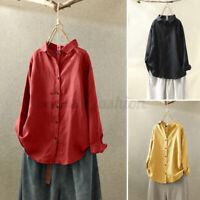 ZANZEA Femme Chemise Haut Shirt Manche Longue Boutons Pur coton Revers Plus