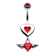 Charming Angel Heart Belly Navel Button Ring Red 14G