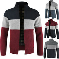 Mens Slim Coat Warm Knitted Sweater Jacket Thicken Cardigan Top Overcoat Trench