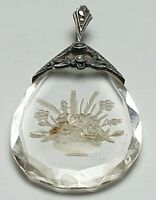 Jugendstil um 1900 großer Bergkristall Anhänger Handarbeit graviert 800 Silber