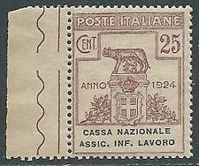 1924 REGNO PARASTATALE 25 CENT CASSA NAZIONALE ASS INF LAVORO MNH **  - G140-4