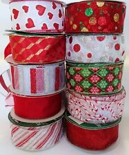 5M / 10M CHRISTMAS  RED  WIRED WIRE EDGE  RIBBON 63MM WIDE LOT A
