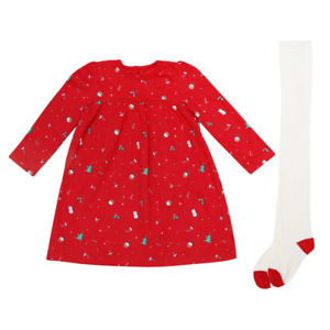 Christmas Baby Girls Dress With Tights Ex George Outfit Set Xmas Eve Red Cute