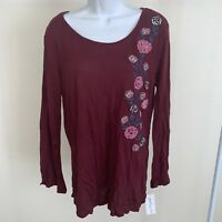 NY Collection Size Large Womens NEW Maroon Embroidered Blouse Top Pullover