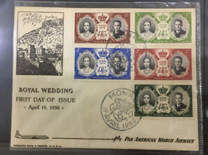 1956 Monaco royal wedding FDC  special airline cover 5v stamps