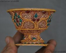 "3""Old Tibet Silver Filigree Inlay Gem Gilt Auspicious Goblet Wineglass Cup Bowl"